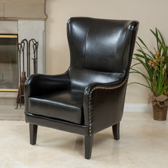 Alonzo Black Leather Studded Club Chair