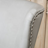 Alonzo Light Grey Leather Studded Club Chair