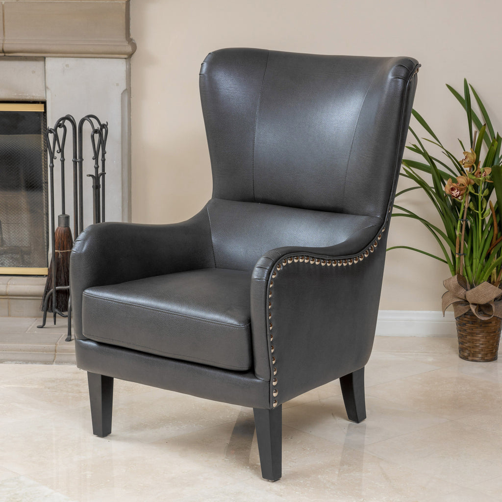 Alonzo Grey Leather Studded Club Chair