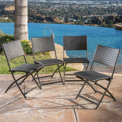 (Set of 4) Jason Outdoor Brown Wicker Folding Chair
