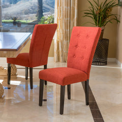 (Set of 2) Darrel Fabric Orange Dining Chair