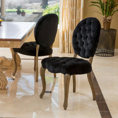 (Set of 2) Marlon Velvet Black Dining Chair