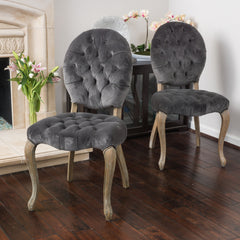 (Set of 2) Marlon Velvet Charcoal Dining Chair