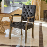 Myrtle Velvet Charcoal Arm Dining Chair