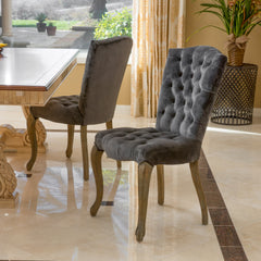 (Set of 2) Martino Velvet Charcoal Dining Chair