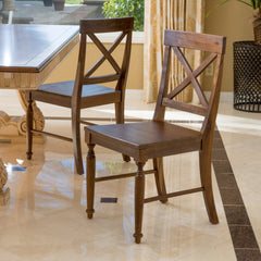 (Set of 2) Leyden Brown Wood Dining Chair