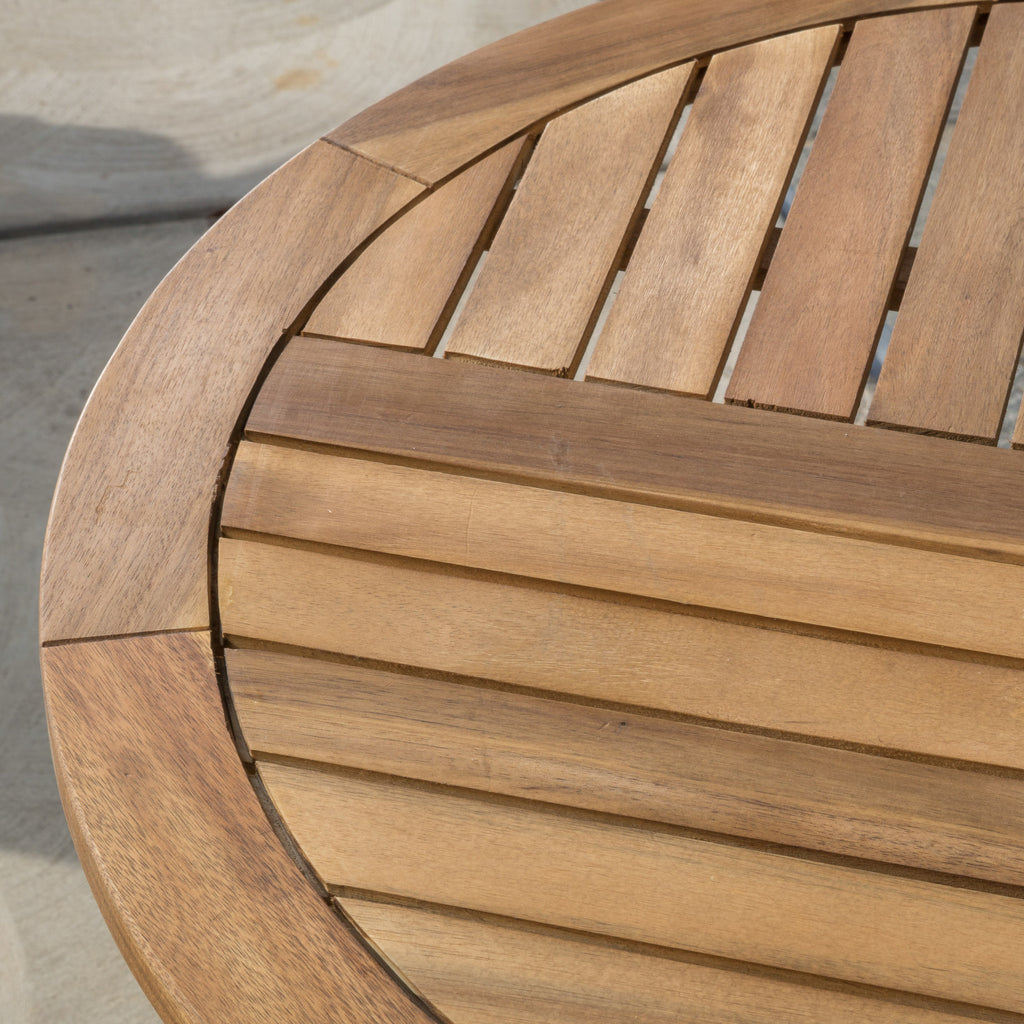 Navarro Outdoor Round Wood Accent Table