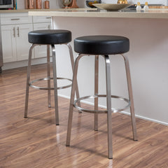 (Set of 2) Jeffrey Black Leather Barstool