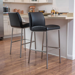 (Set of 2) Jalen Black Leather Barstool