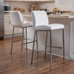 (Set of 2) Jalen White Leather Barstool