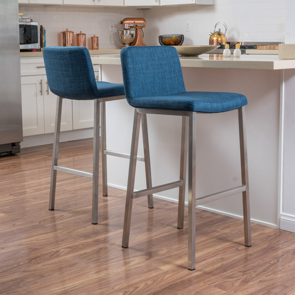 (Set of 2) Santino Blue Fabric Barstool
