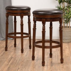 (Set of 2) Manuel Brown Leather Swivel Barstool