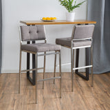 (Set of 2) Kyoto Light Grey Fabric Barstool