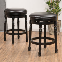 (Set of 2) Manuel Black Espresso Leather Swivel Barstool