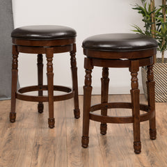 (Set of 2) Jaxx Brown Leather Swivel Counter Stool