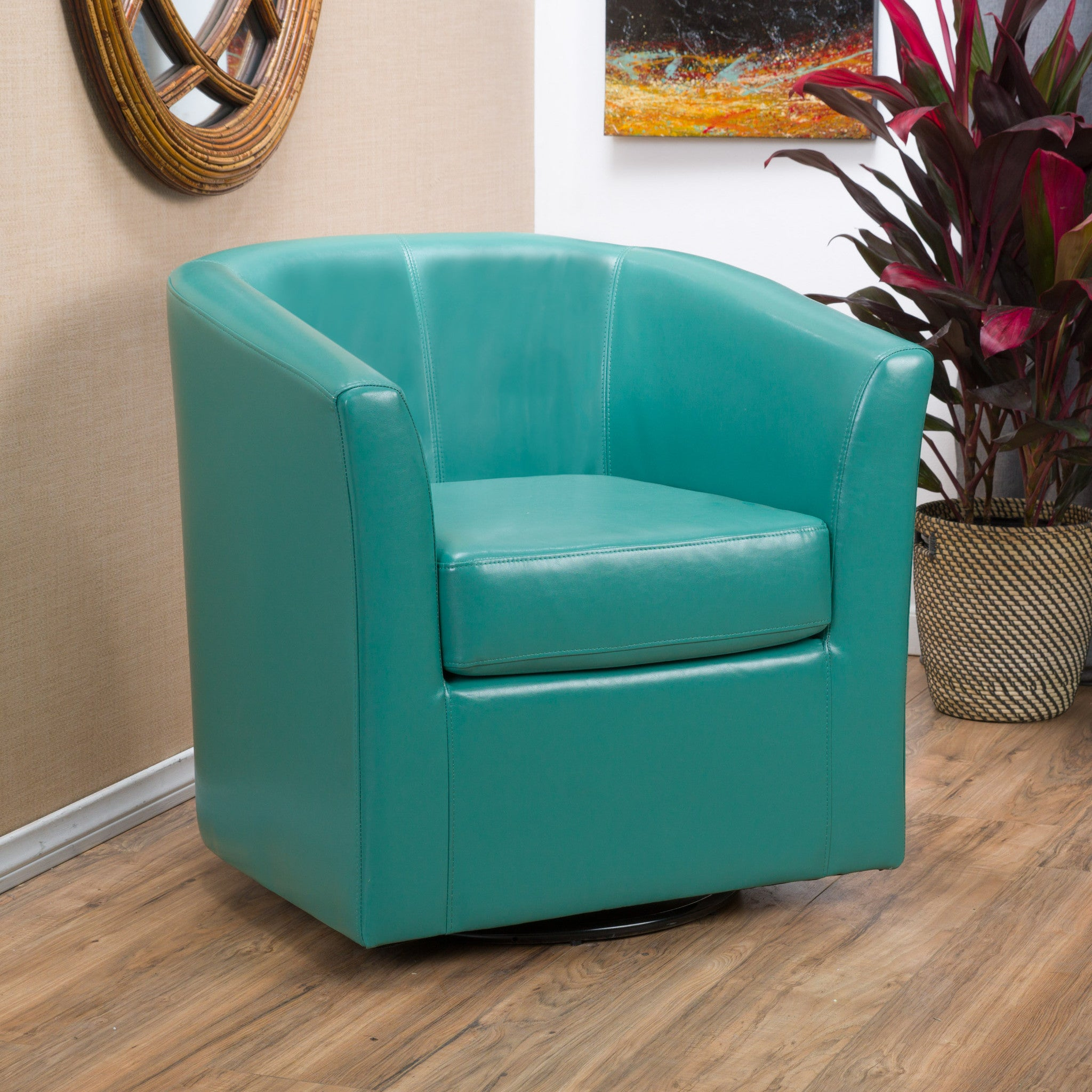 Corley Turquoise Leather Swivel Club Chair