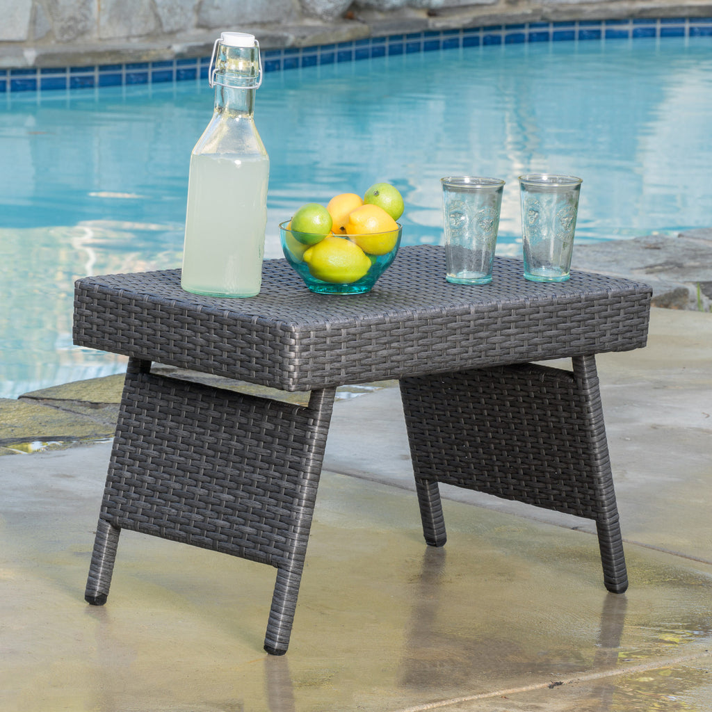 Olivia Outdoor Grey Wicker Adjustable Chaise Lounge and Table Set