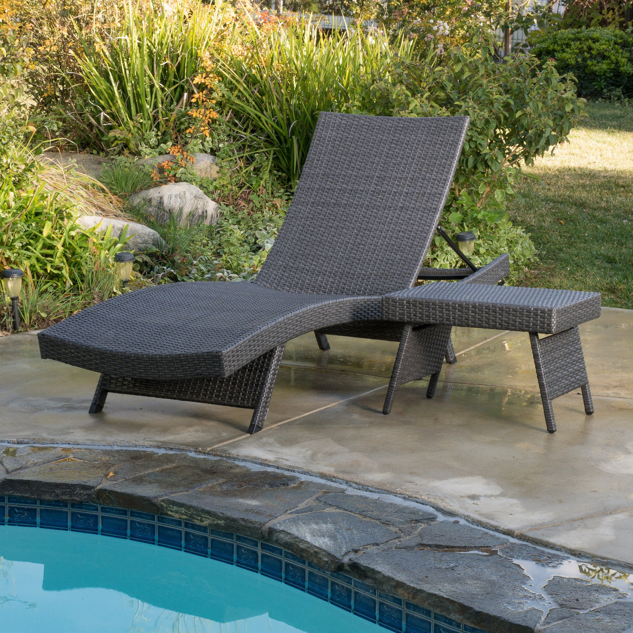 Outdoor pool chaise lounge chair pe wicker patio furniture adjustable - Olivia Outdoor Grey Wicker Adjustable Chaise Lounge And Table Set
