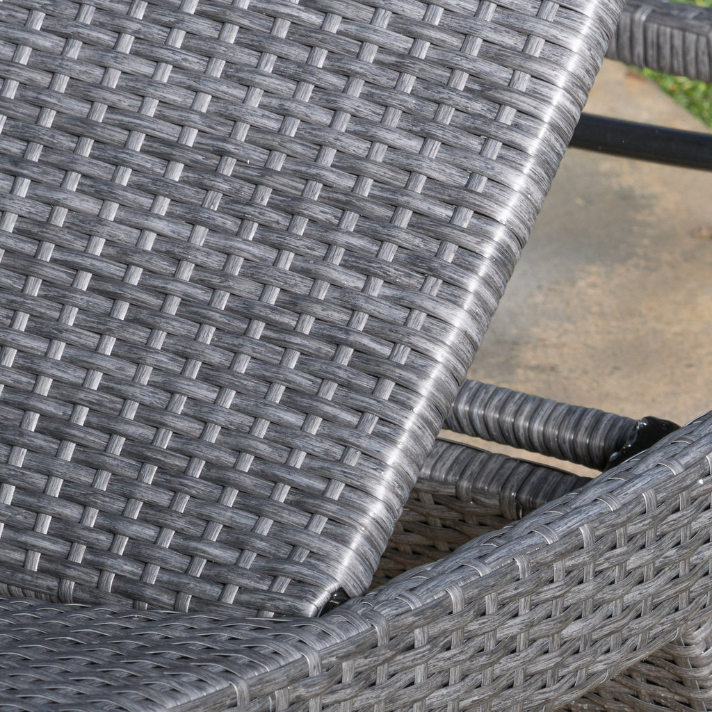 (Set of 2) Olivia Outdoor Grey Wicker Chaise Lounge Chairs