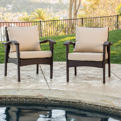 (Set of 2) Bleecker Outdoor Brown Wicker Club Chair with Cushion