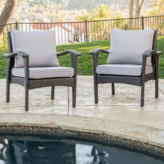 (Set of 2) Bleecker Outdoor Grey Wicker Club Chair with Cushion