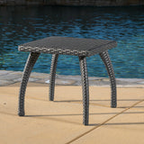 Woodridge Outdoor Grey Wicker Accent Table