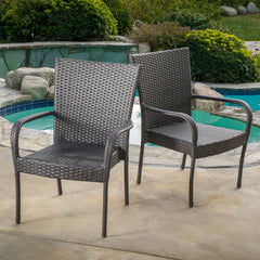(Set of 2) Sultana Outdoor Grey Wicker Stackable Club Chairs