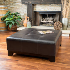 Avalon Espresso Brown Leather Ottoman