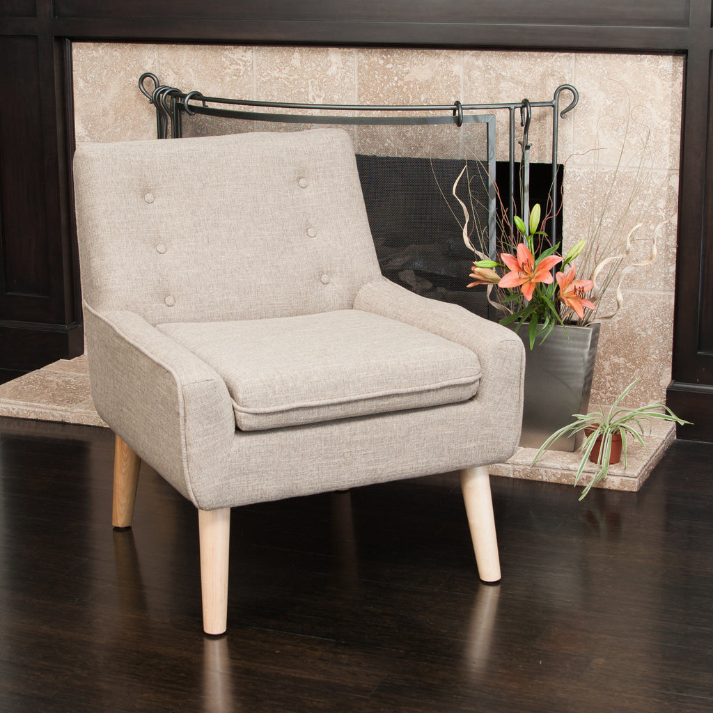 Brockston Light Brown Fabric Retro Accent Chair