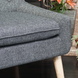Brockston Charcoal Grey Fabric Retro Accent Chair