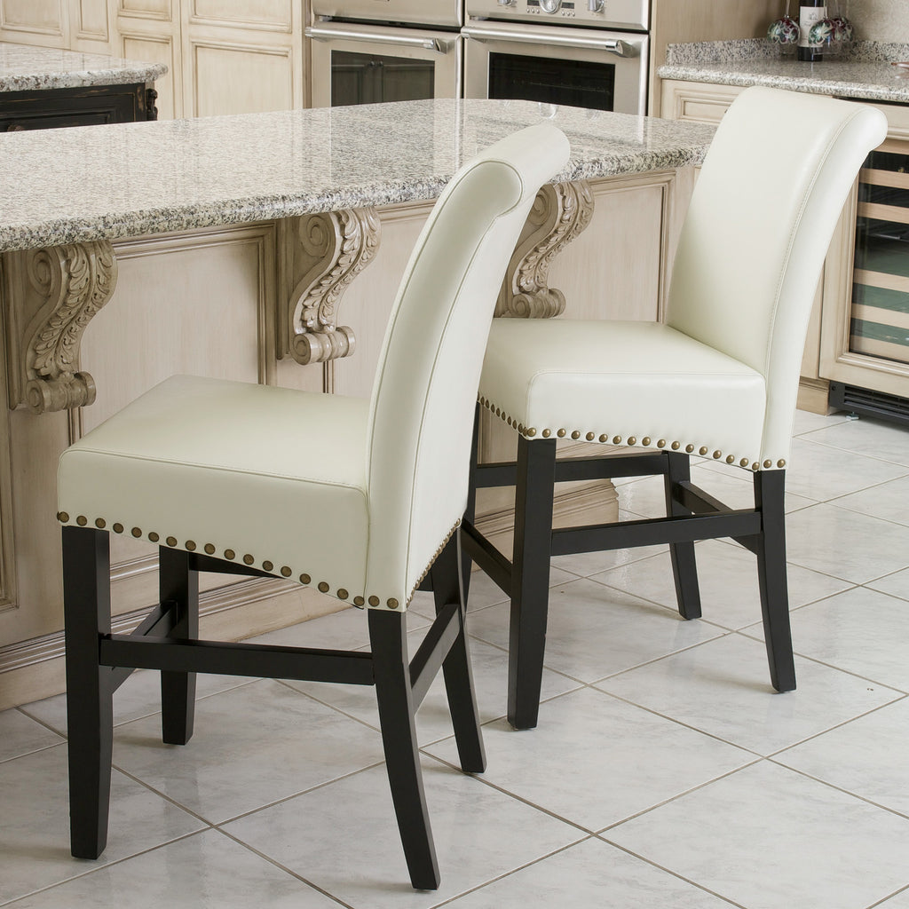 Carmen Ivory Leather Counter Stool (Set of 2)