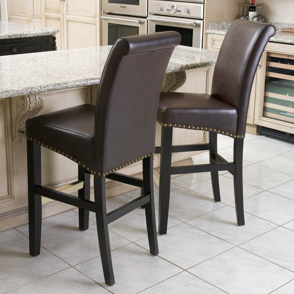 Carmen Brown Bonded Leather Bar Stool (Set of 2)