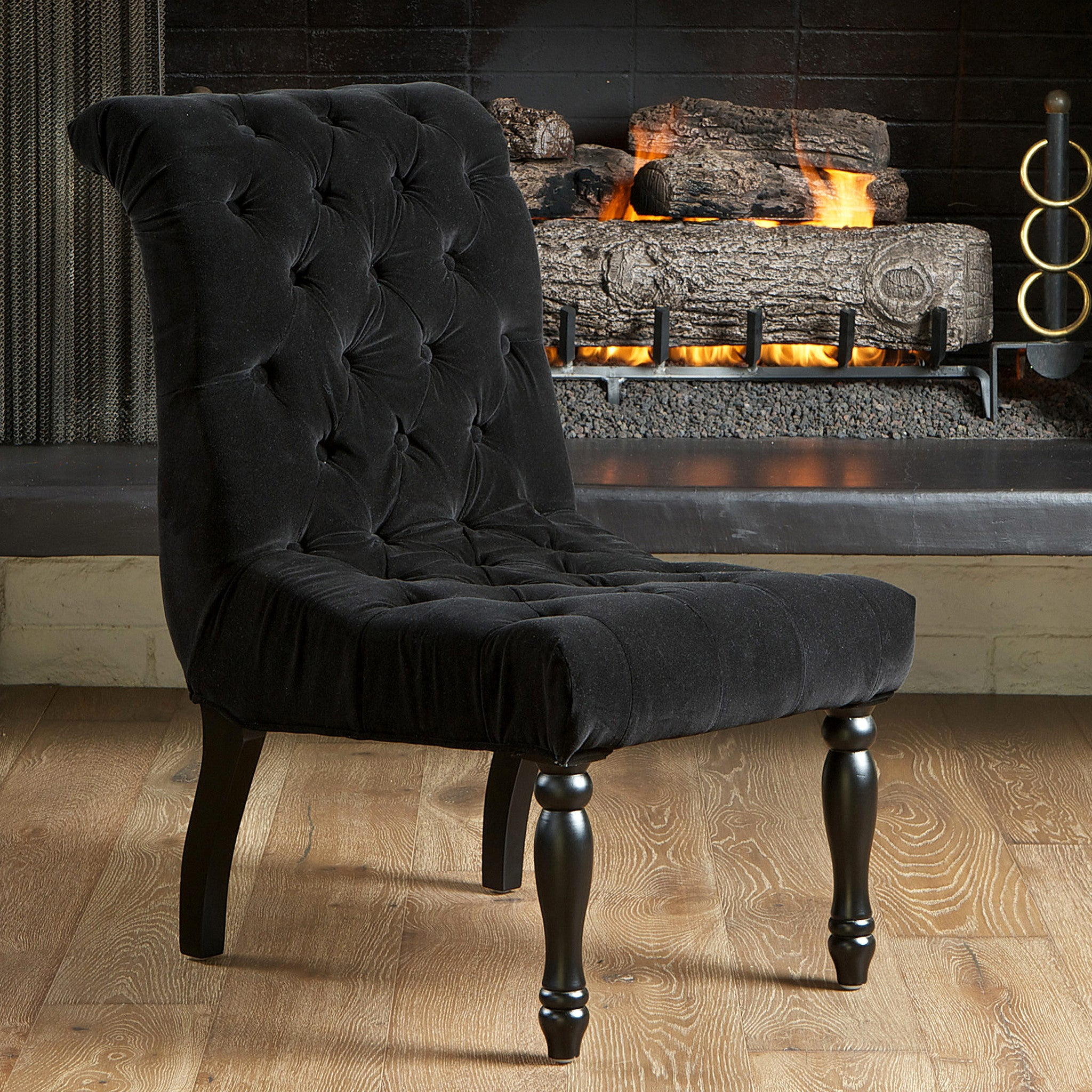 Juliette Black Tufted Velvet Accent Chair