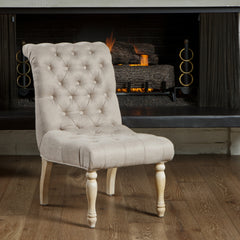 637162608258 Aberdeen Tufted Beige Linen Dining Chair