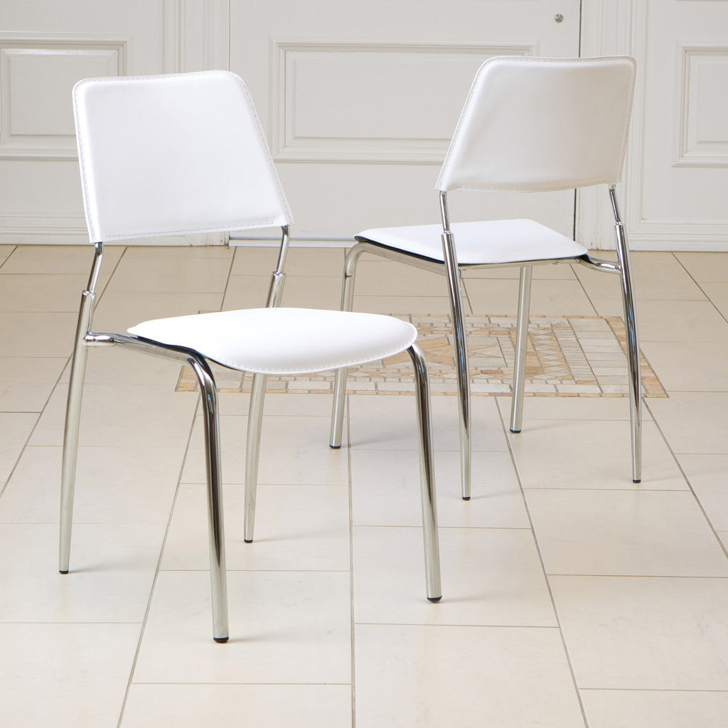 816764015774 - Delmar Ivory Modern Chair - 2 chairs full view