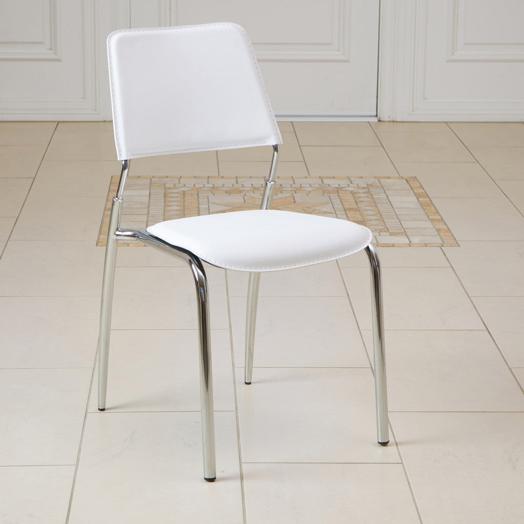 816764015774 - Delmar Ivory Modern Chair - single chairs full view