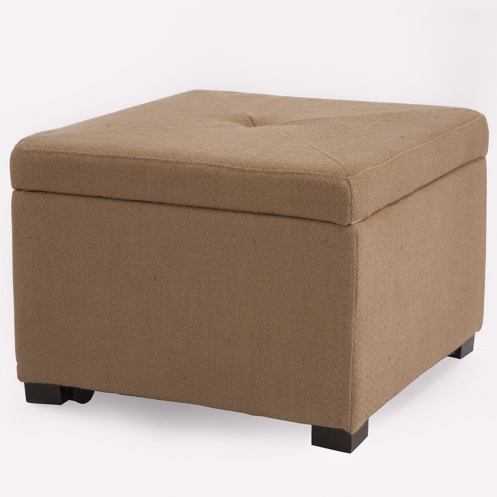 816764017457 Cloverdale Jute Fabric Shoe Storage Ottoman White Background View