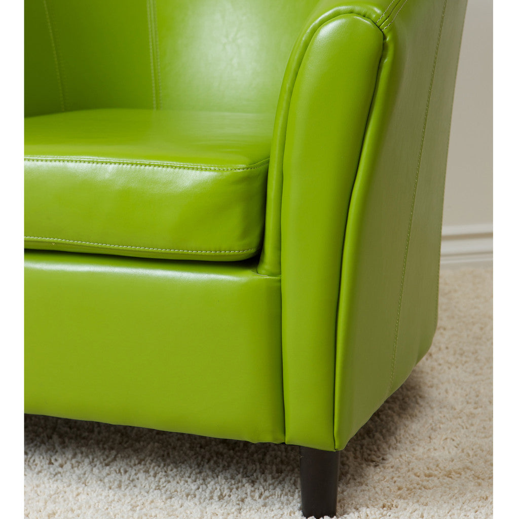 817056010170 Newport Lime Green Leather Club Chair Chair Detail View