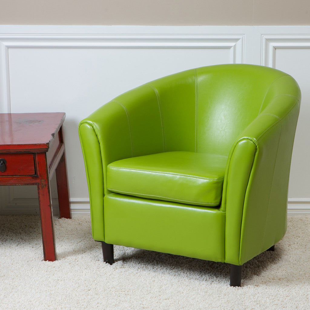 817056010170 Newport Lime Green Leather Club Chair Full View in Room