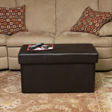 817056010279 Peabody Brown Leather Folding Storage Ottoman Full View in Room