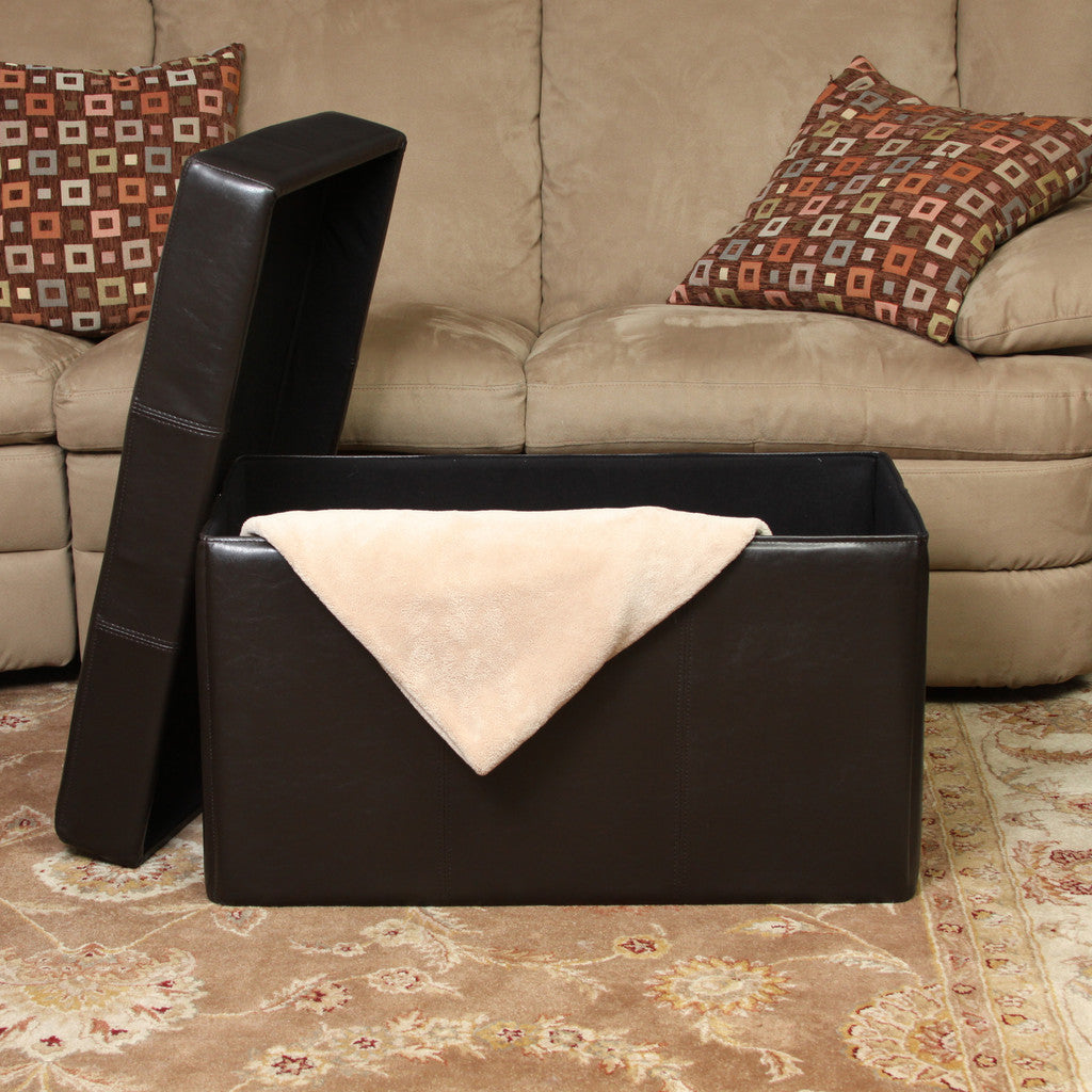 817056010279 Peabody Brown Leather Folding Storage Ottoman Open Storage View in Room