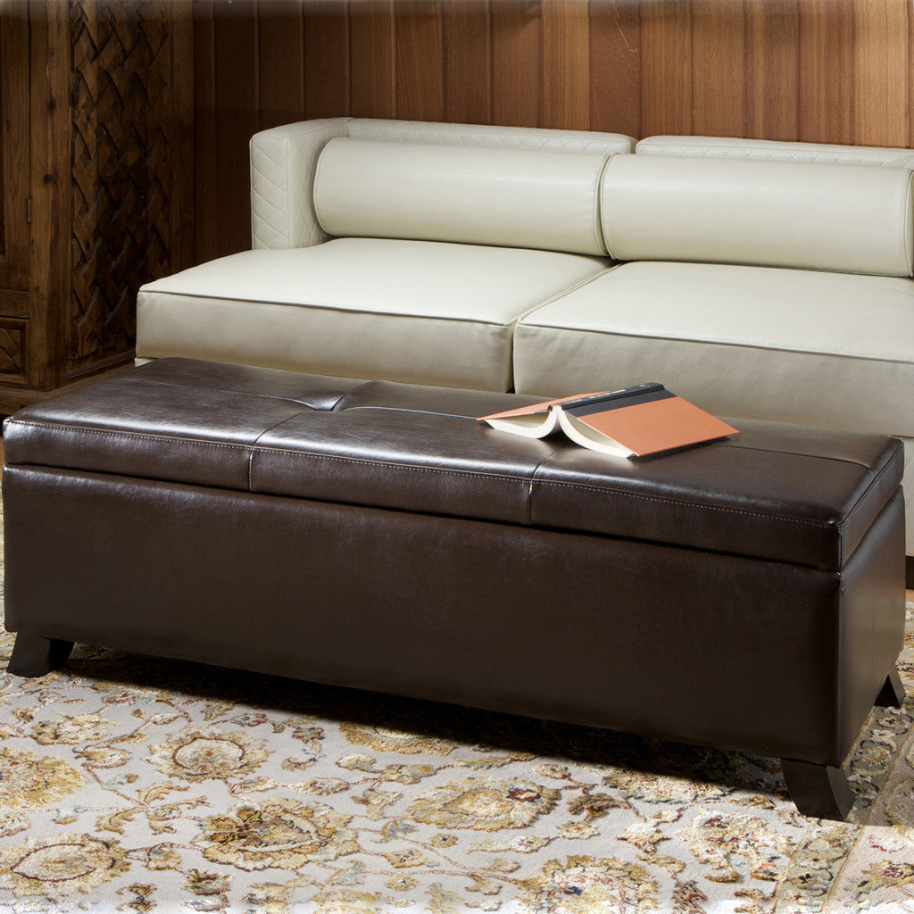 Canal Brown Leather Storage Ottoman - Storage Ottomans Great Deal Furniture Canada