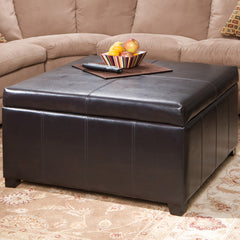 817056010453 Berkeley Brown Leather Square Storage Ottoman Full View in ROom