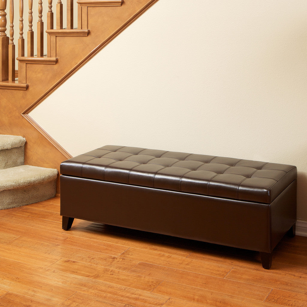 817056010637 Santa Rosa Brown Tufted Leather Storage Ottoman Bench Full View in Room