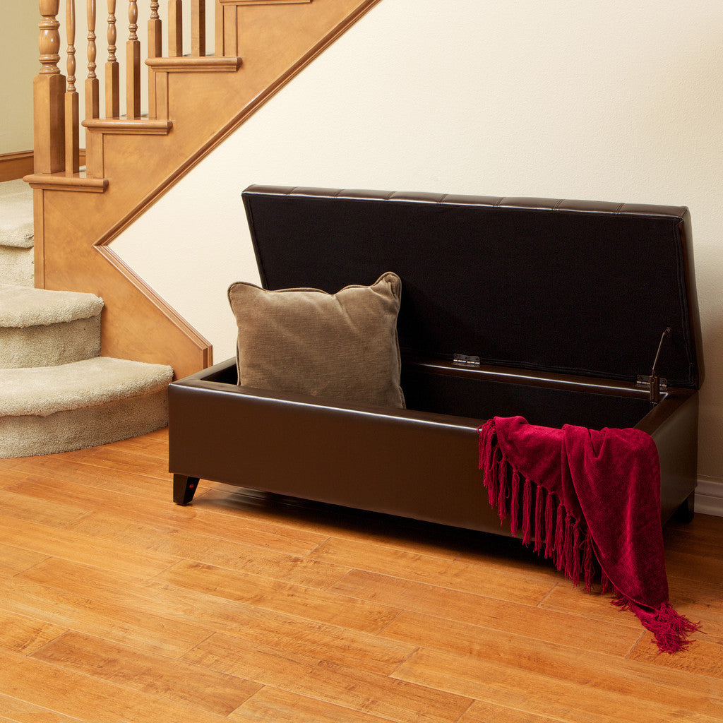 Santa Rosa Brown Tufted Leather Storage Ottoman Bench Great Deal