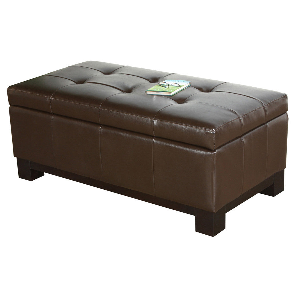 817056010774 Maywood Leather Storage Ottoman with Tufted Top Full View White Background
