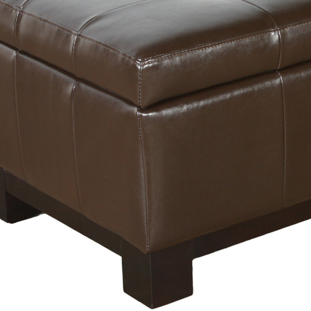 817056010774 Maywood Leather Storage Ottoman with Tufted Top Leg Detail White Background