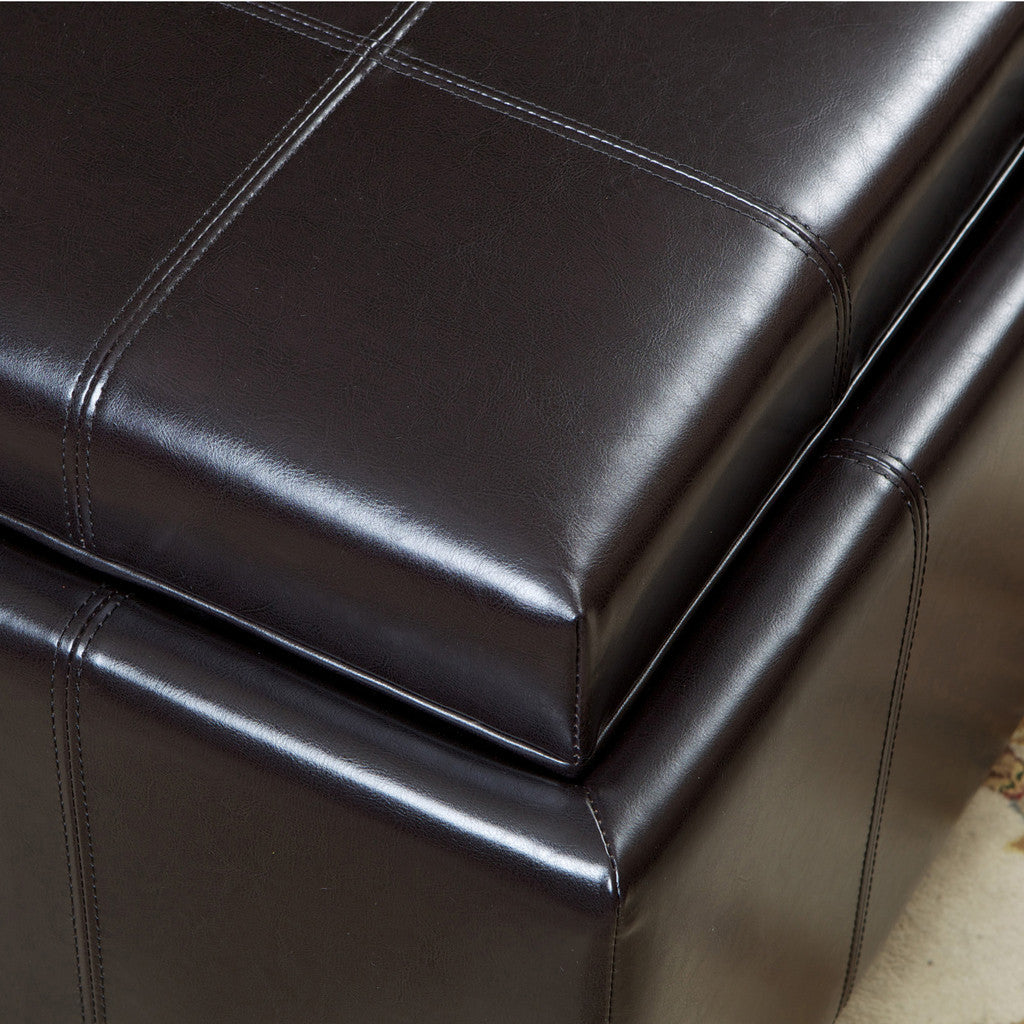 Harley Leather Espresso Tray Top Storage Ottoman Great Deal