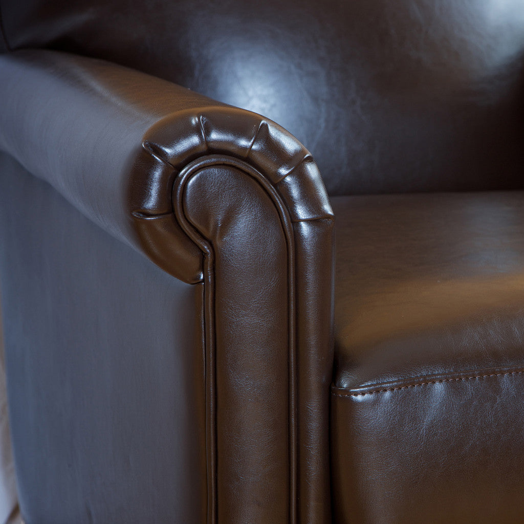 817056010927 Bayview Classic Brown Bonded Leather Club Chair Detail View