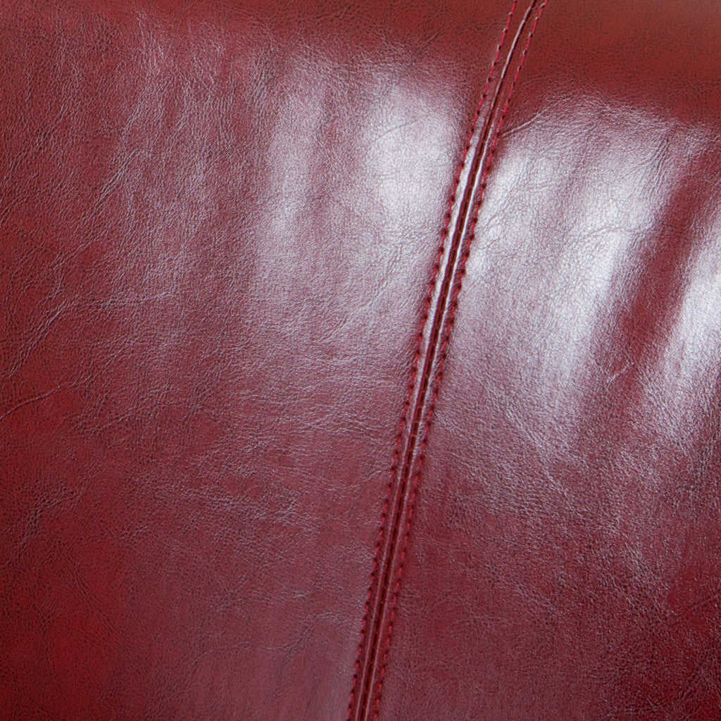 817056011016 Petaluma Red Leather Club Chair Leather Detail View